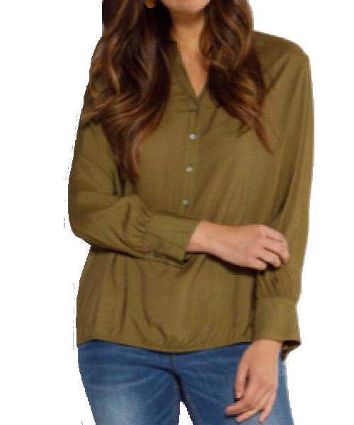 Ulla Popken Tunica con orlo elastico, bottoni, colletto da camicia e maniche lunghe
